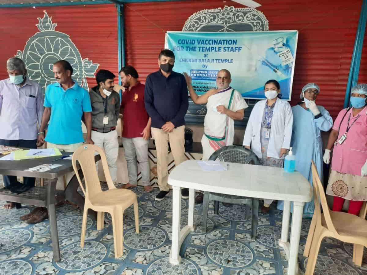 Hyd-based HHF vaccinates all staff of Chilkur Balaji temple