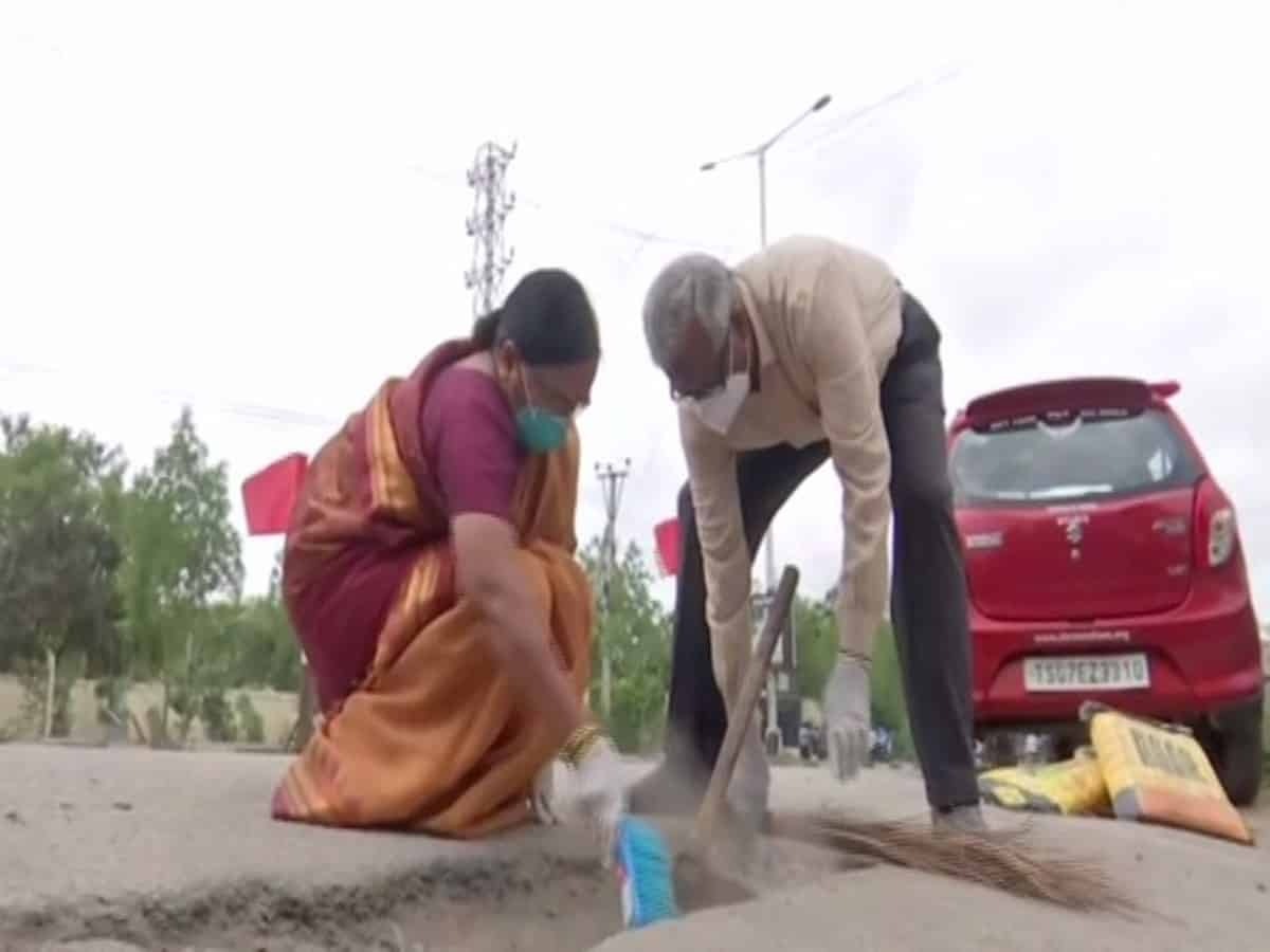 Hyderabad: Old couple spends pension funds to fill potholes