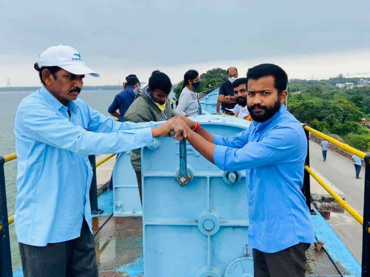 Two gates of Himayat Sagar lifted to let excess water into Musi River