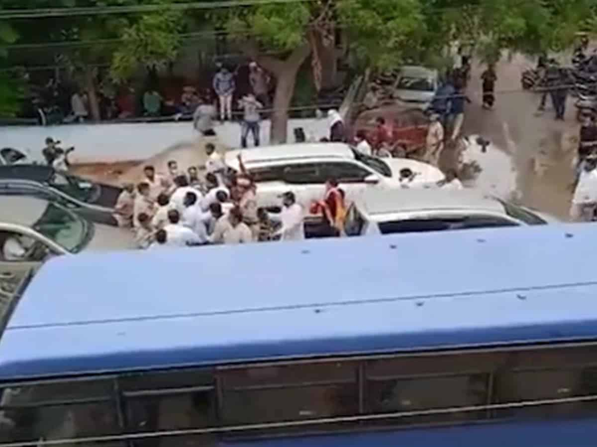 Tension prevails in Malkajgiri after scuffle between BJP & TRS leaders