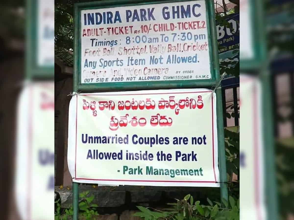 Hyderabad: Banner from Indira Park removed after outrage over 'moral policing'