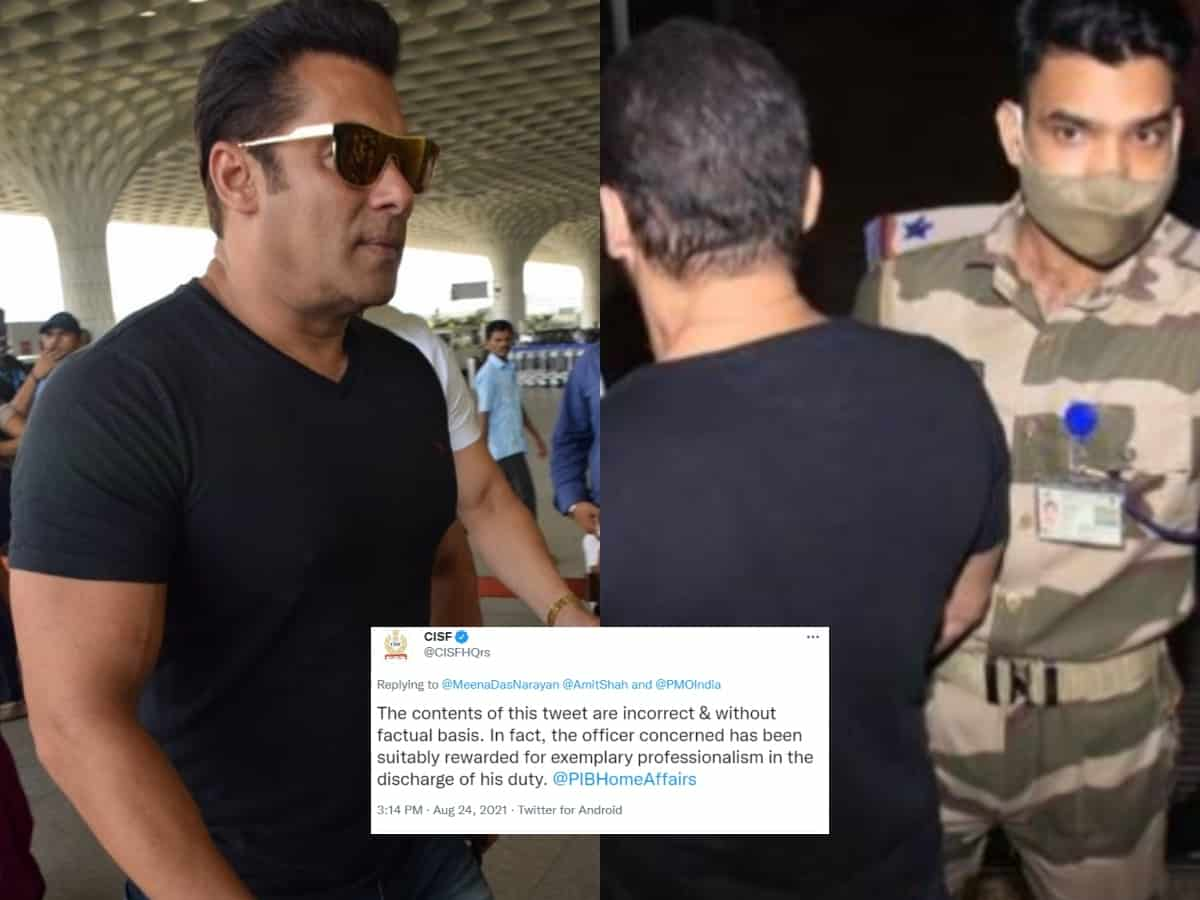 CISF officer who stopped Salman Khan at airport 'rewarded' not penalised