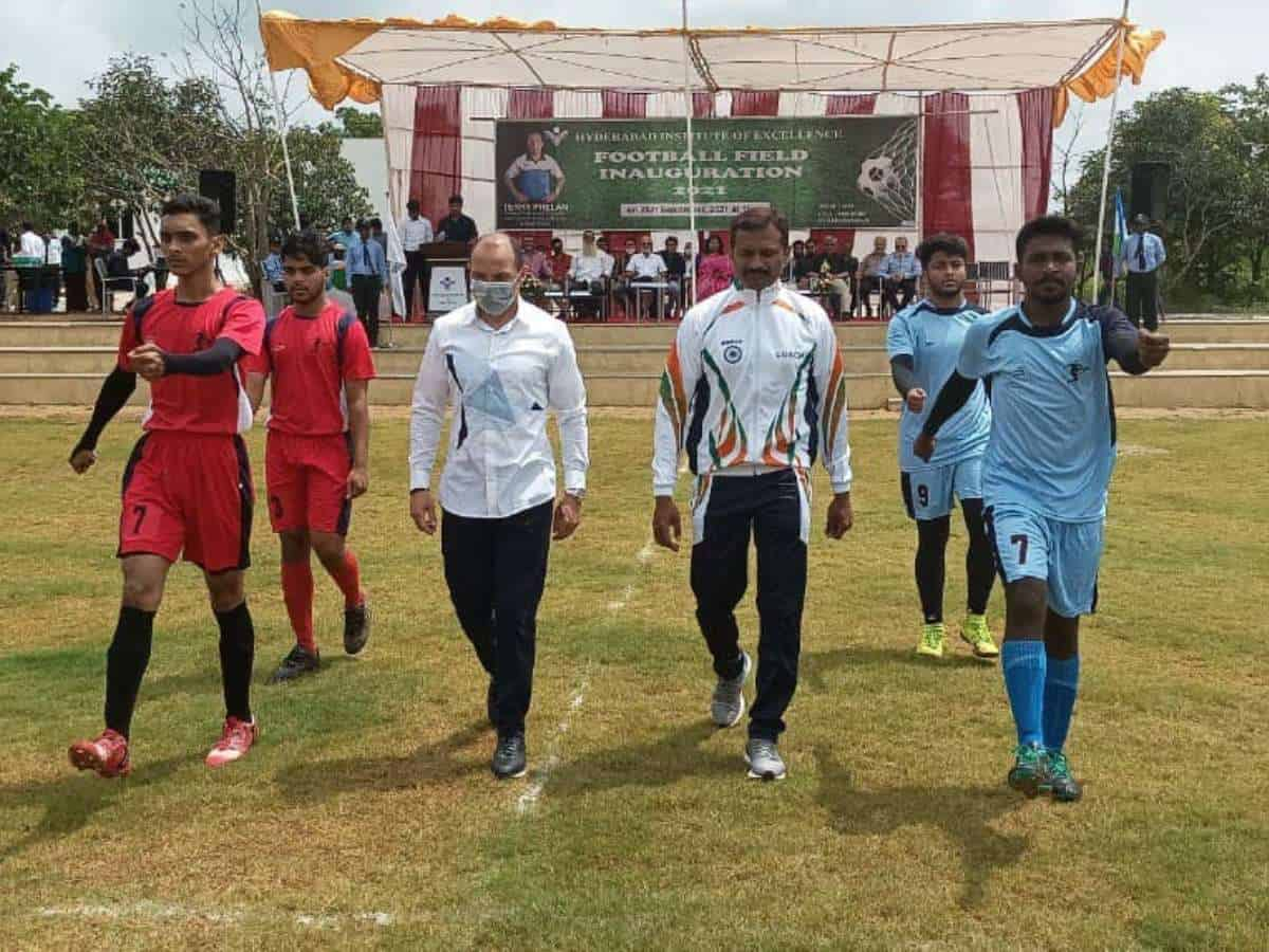 Terry Phelan inaugurates football field at Hyderabad Institute of Excellence
