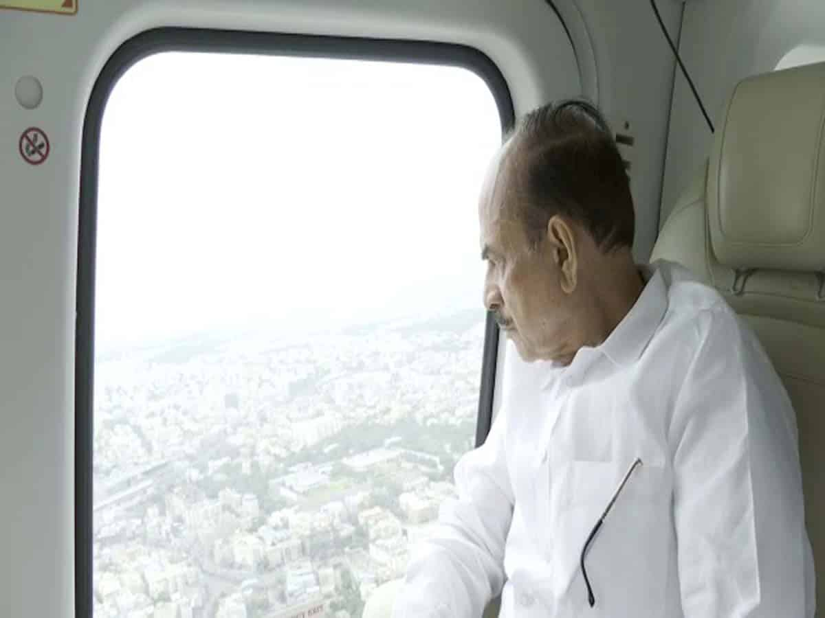 Home Minister,DGP takes aerial view of city during immersion