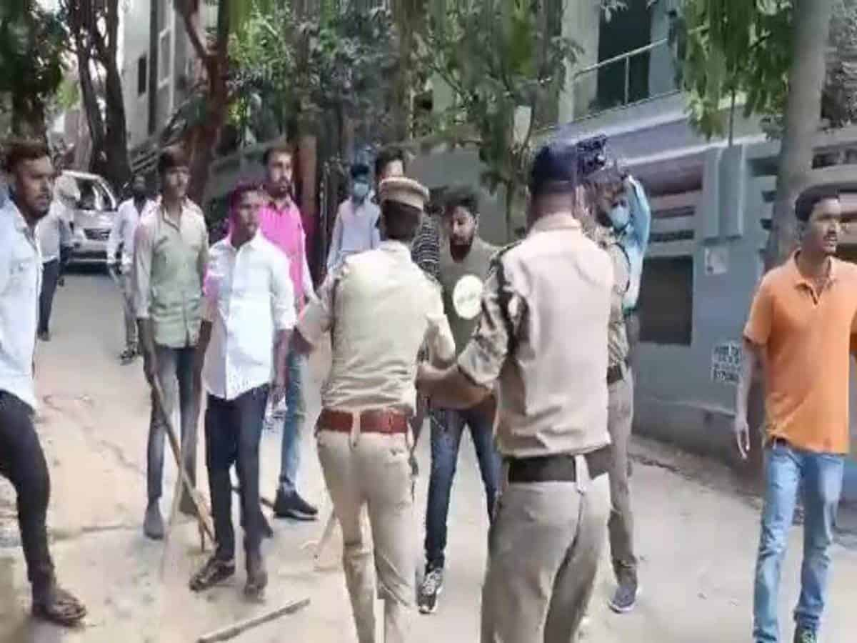 TRS, Congress workers clash near Revanth Reddy's residence