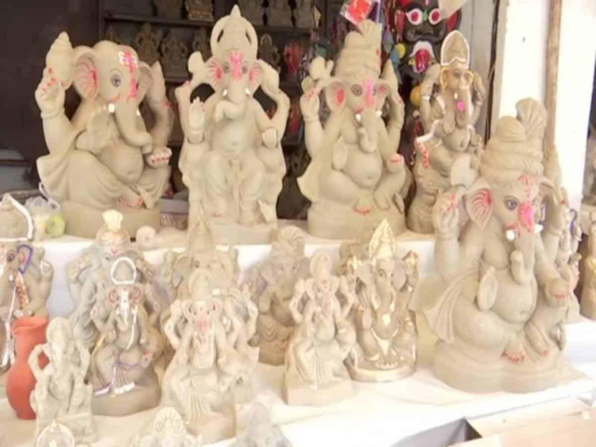 People preferring eco-friendly clay Ganesha idols in Hyderabad