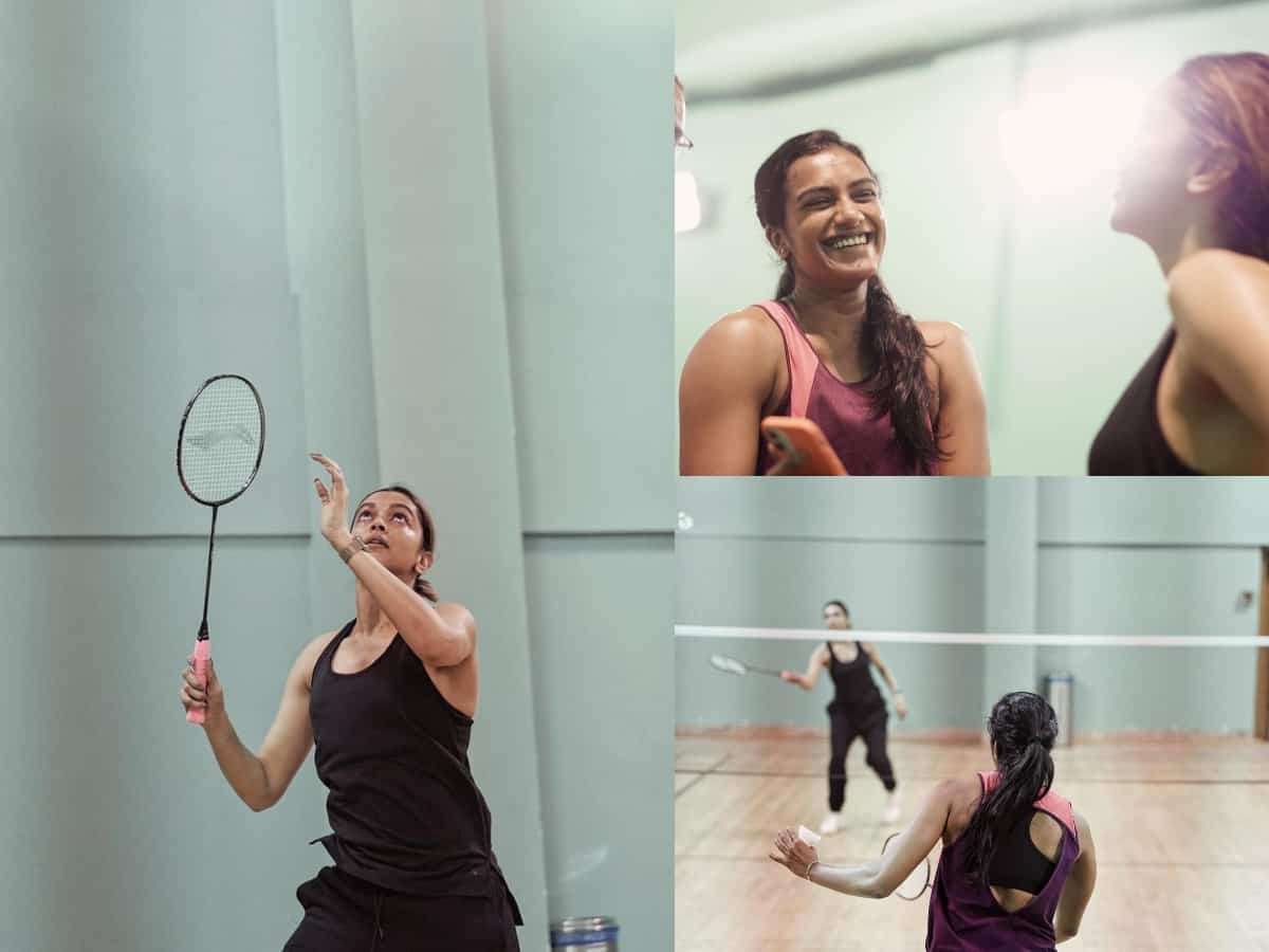 Deepika plays badminton with PV Sindhu; fans ask 'Biopic on way?'