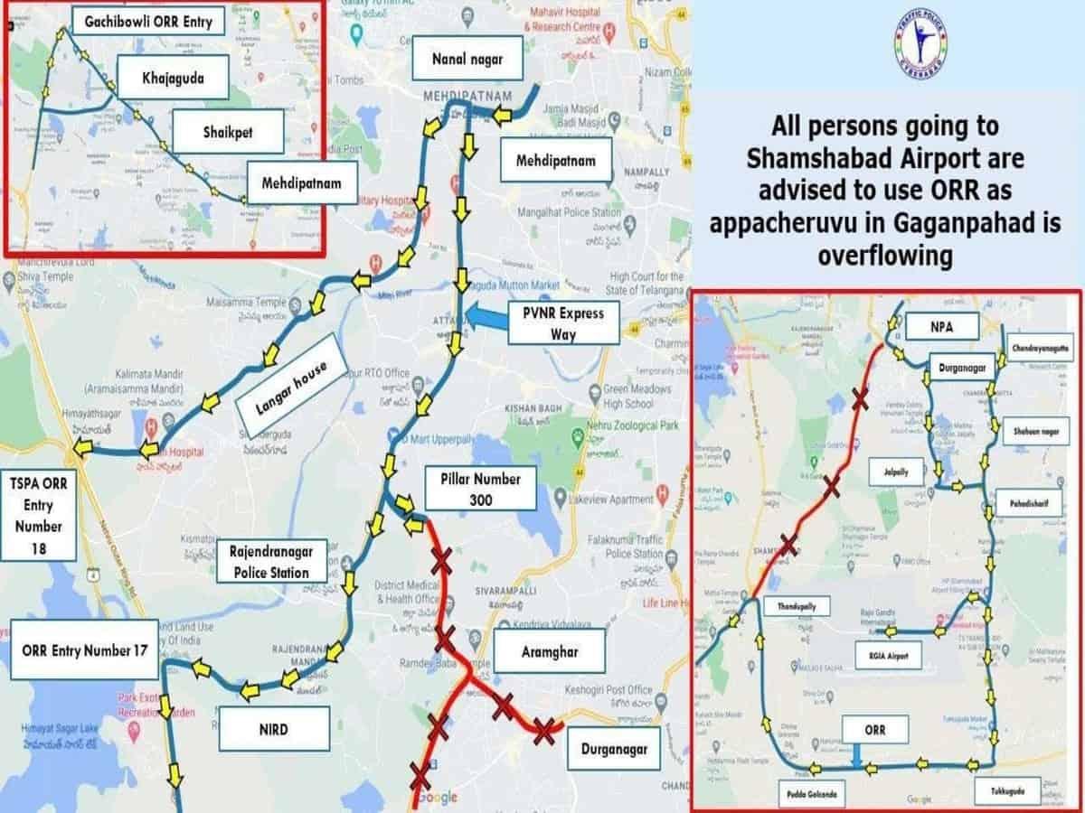 Hyderabad: Shamshabad road, PVNR Expressway closed as Appa Cheruvu overflows due to heavy rain