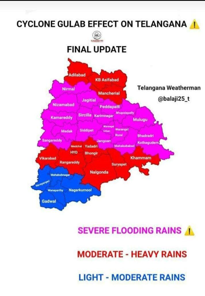 Cyclone Gulab: Heavy rains lash Telangana; to continue till Sept 29