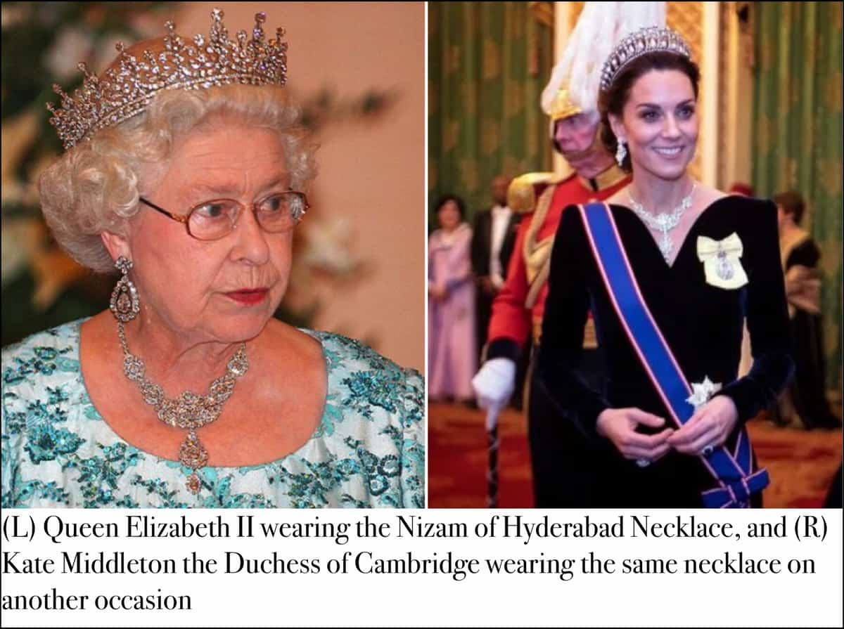 'Nizam of Hyderabad Necklace' is worn by Queen Elizabeth II and also by Kate Middleton