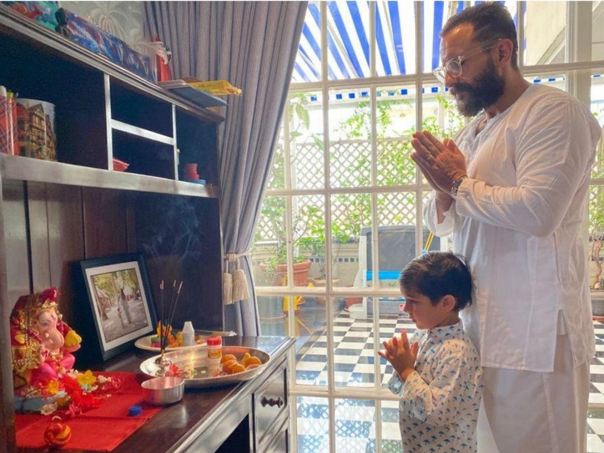 [Photo] Saif Ali Khan, Taimur Ali Khan perform Ganesh puja