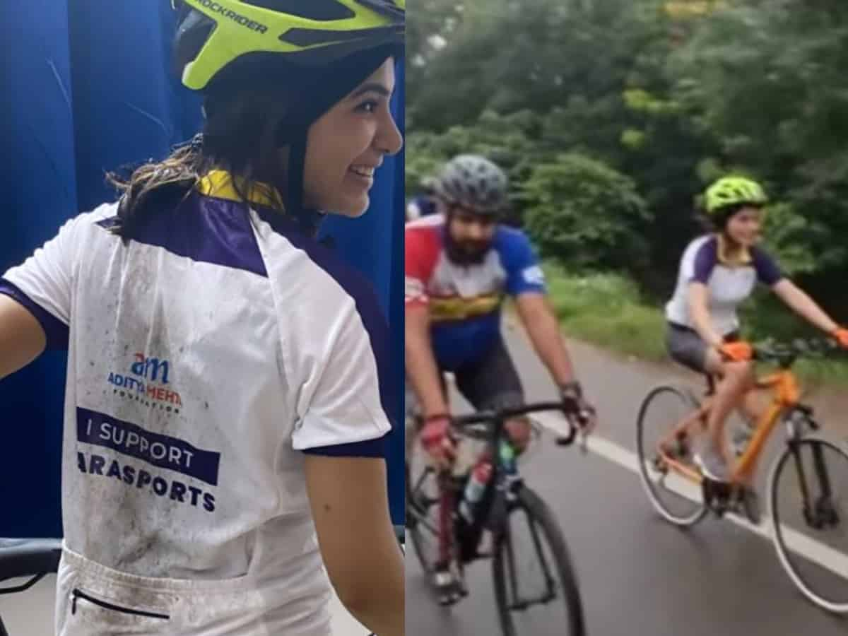 Samantha goes cycling on Hyderabad streets [Video]