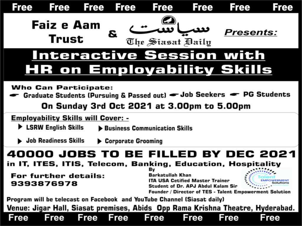 40,000 vacancies to be filled; free orientation on Sunday at Siasat office