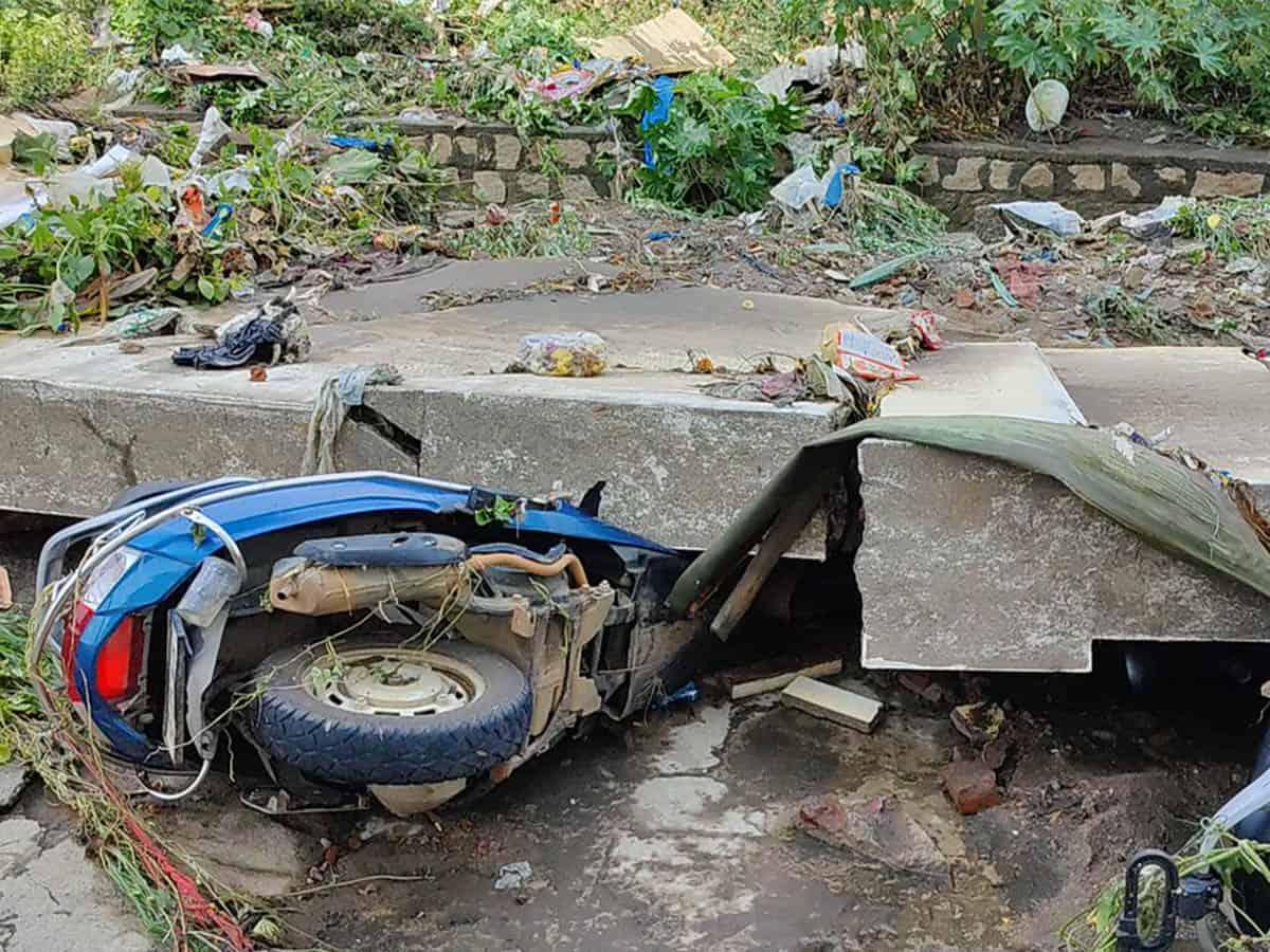 Rains: Fence collapses at Saroornagar, several bikes damaged