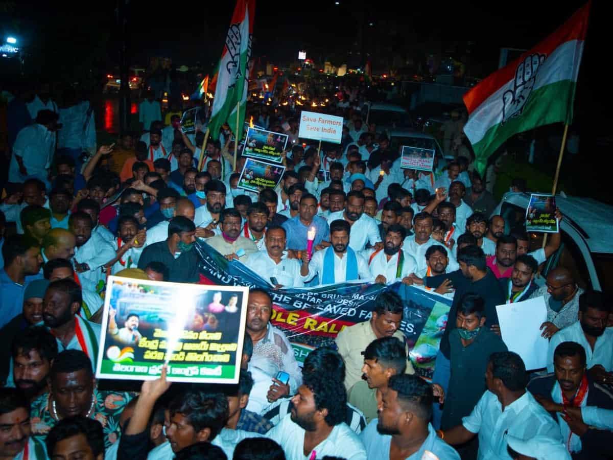 Hyderabad: Congress holds candlelight march against Lakhimpur Kheri violence