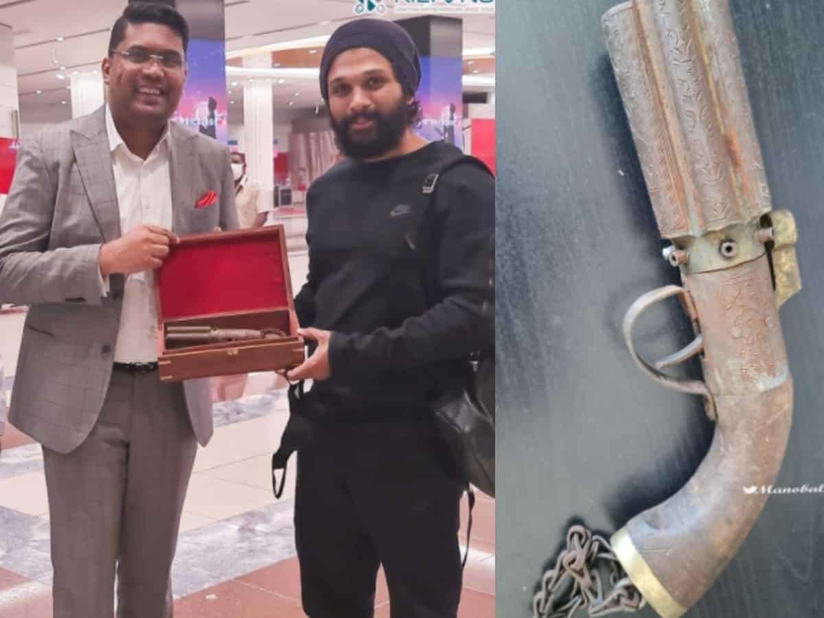 UAE-based businessman Riyaz gifts 160-year-old pistol to Allu Arjun [PHOTOS]