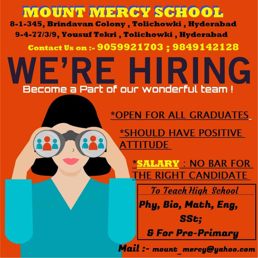 Jobs in Hyderabad: Mount Mercy School invites applications to recruit teachers